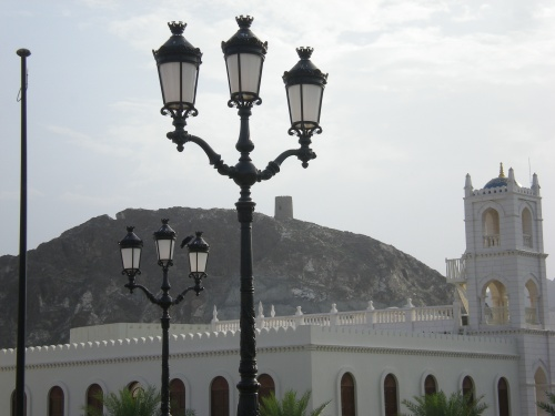 lampposts and side building
