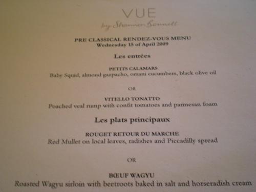 Vue pre-concert menu