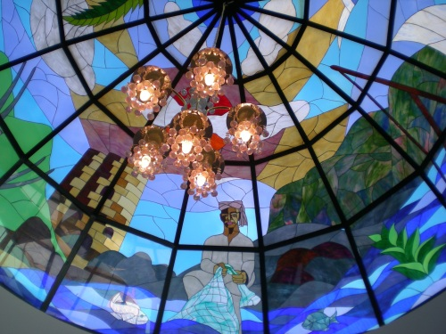 colored glass dome in lobby