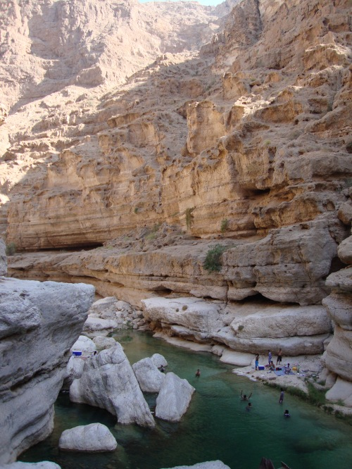 people in wadi water