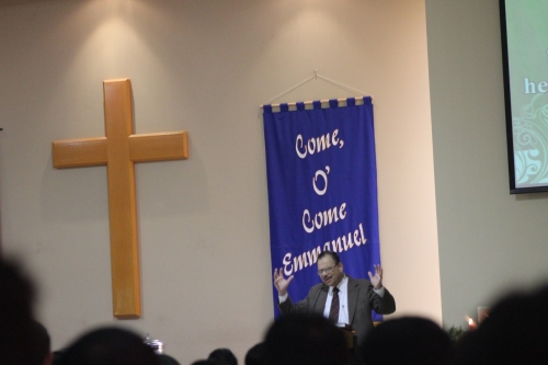 Pastor Michael Pepppin preaching