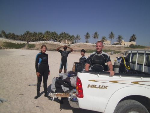 getting ready for dive