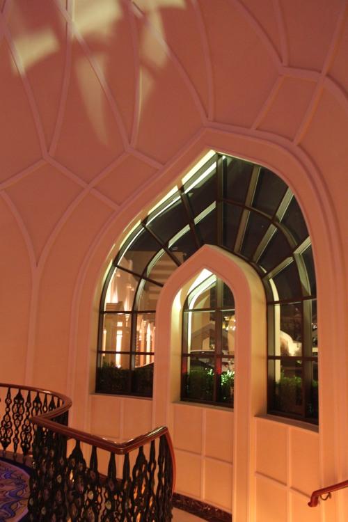 near stairway down to restaurants