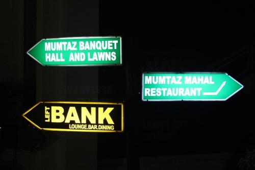 leftbank directional sign