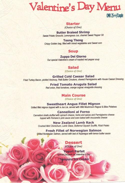 details of menu