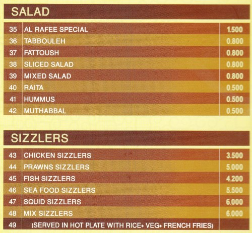 salads and sizzlers