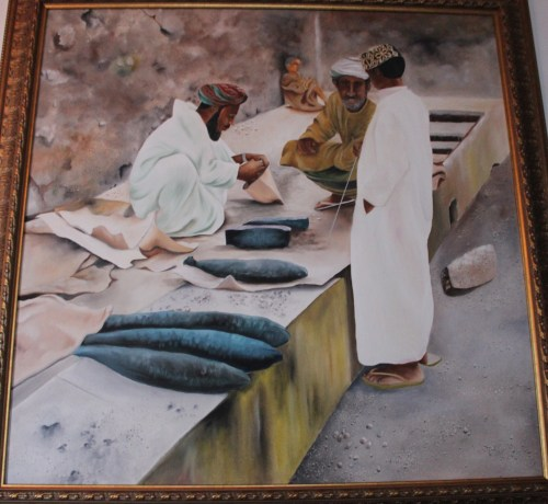 old muttrah fish souk painting
