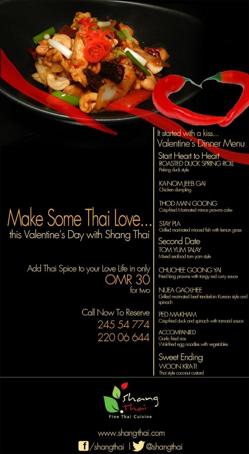 Shang Thai Valentines Day dinner menu