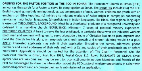 pastoral position