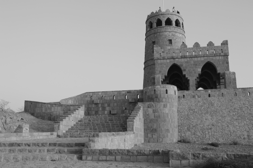 black and white of fort