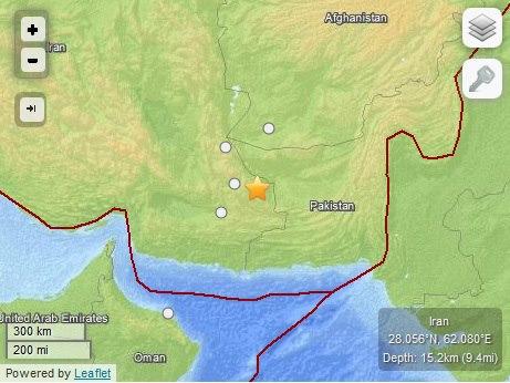 april 16 earthquake near iran pakistan border
