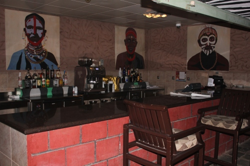 bar and paintings