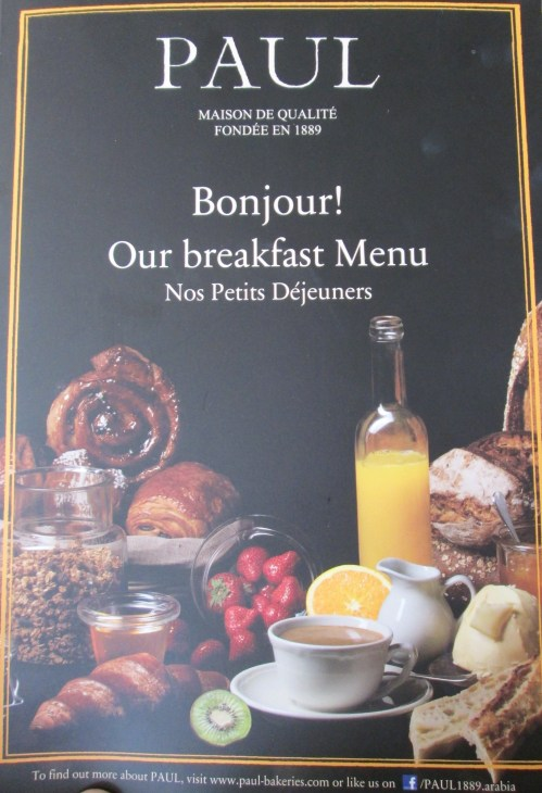 PAUL breakfast menu