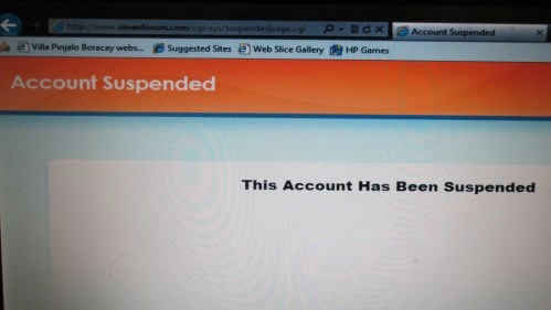 oman forum suspended