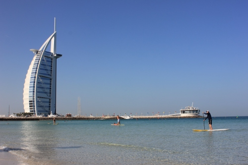 paddle boarding near Burj al Arab