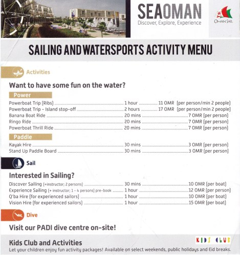 Sea Oman activities