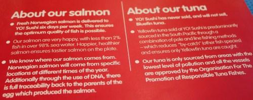salmon at  yo sushi