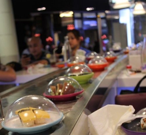 yo sushi assembly line dishes