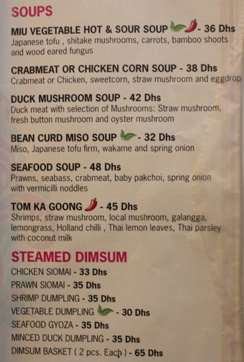 soups and dimsum menu