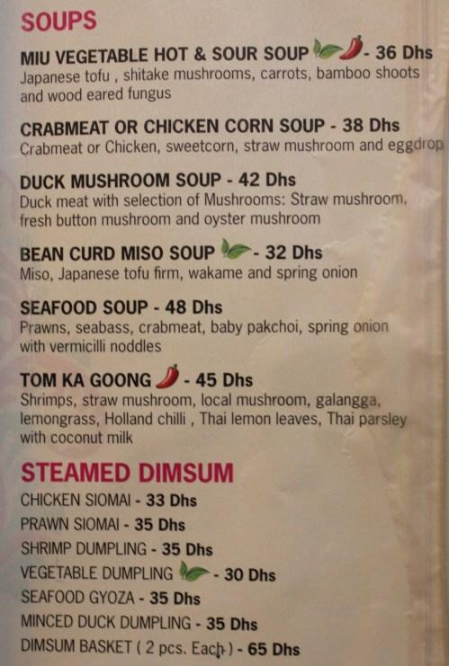 soups and dimsum menu