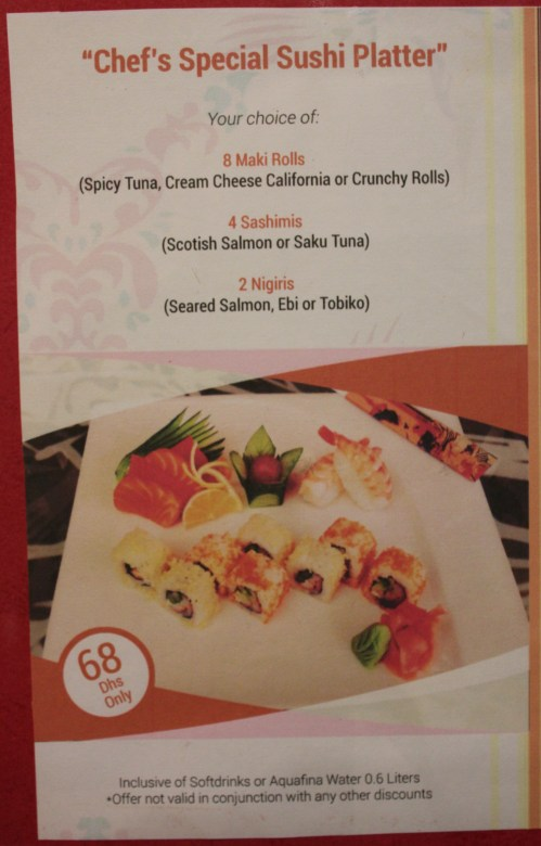 chefs special sushi platter