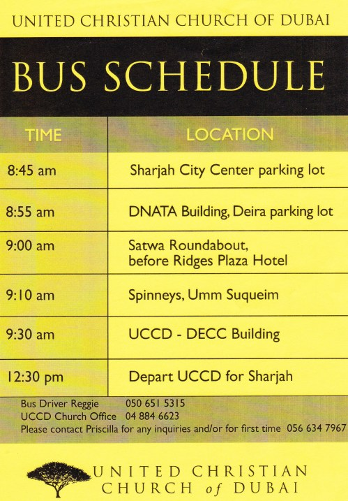 church bus schedule