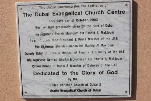plaque on church