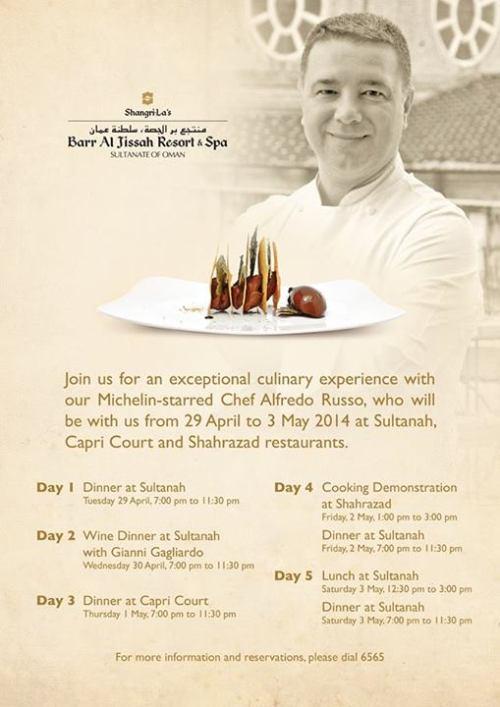 Michelin-Starred Chef Alfredo Russo at Shangri-La over the Next 5 Days!