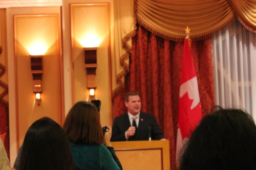 John Baird giving speech