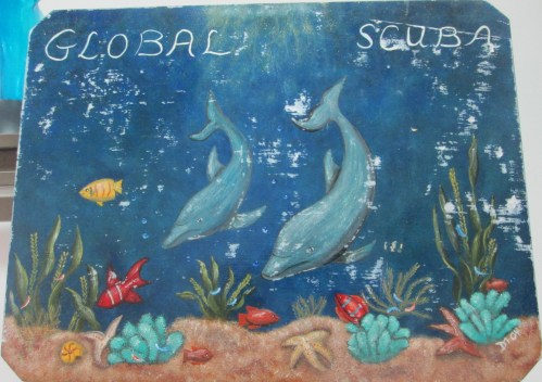 global scuba signboard