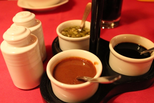 sauces on table